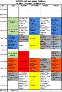 Horario de clases y administrativo